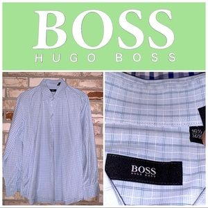 Large 16.5-34/35 Hugo Boss Blue-Gray LS Shirt